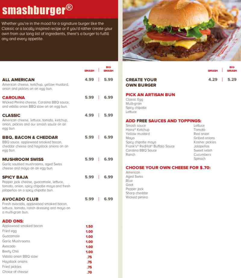 · Smashburger's specializes in burgers, chicken sandwiches, and salads,that can be customized with toppings. The company also offers a wide variety vegetarian black bean burgers veggie burgers and Veggie Frites/5(3).