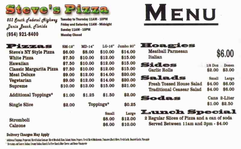 Menu For Steve 39 S Pizza 803 S Federal Hwy