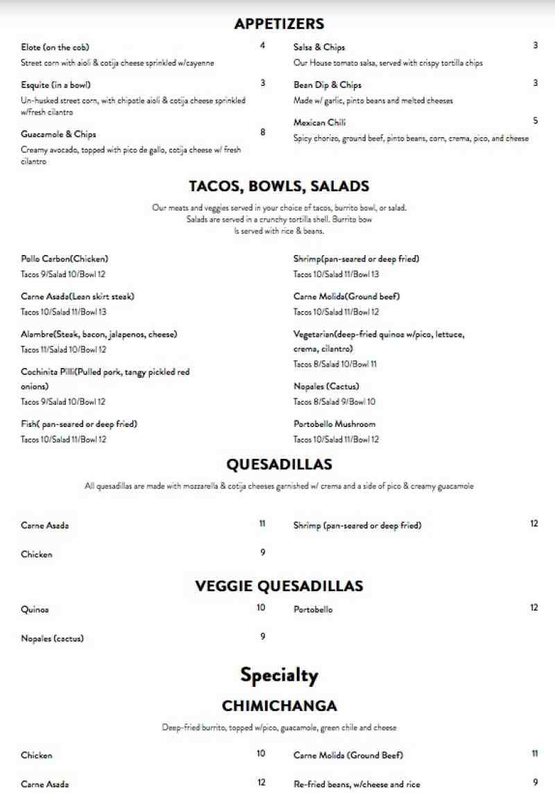 Menu for Tatts & Tacos (3200 NE 12th Ave Oakland Park FL, 33334)
