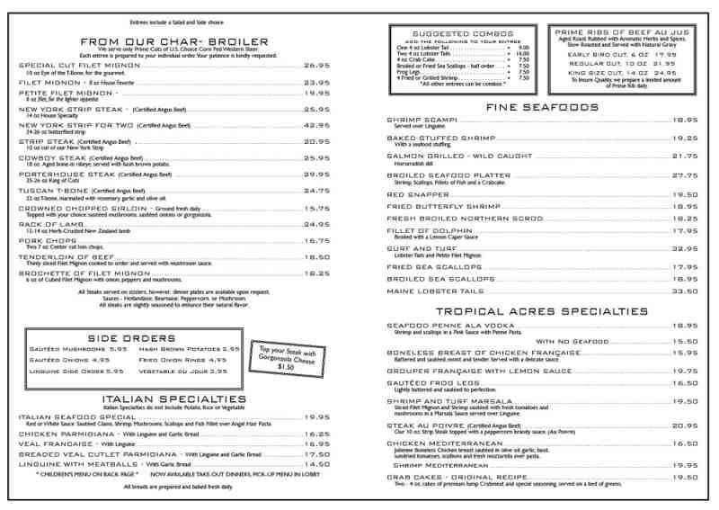 Lauderdale House Cafe Menu