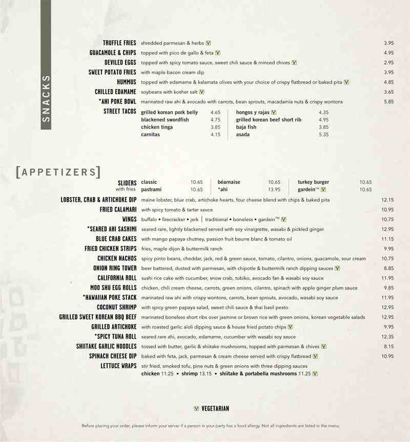 Yard house drink menu prices for Classic sliders yard house