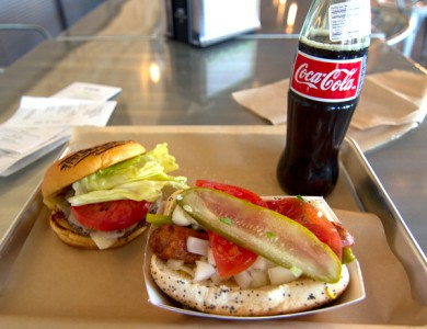 BurgerFi single cheeseburger, Chicago Dog and Real Coke