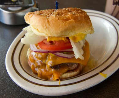CG Burgers signature double stack burger with cheddar