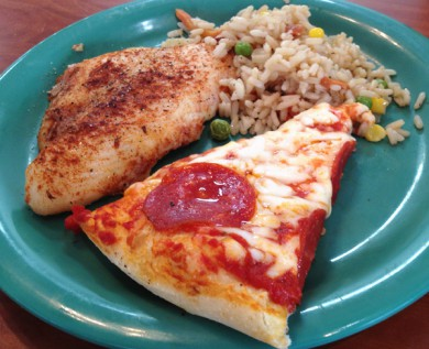 Golden Corral Pizza, Fish and Fried Rice