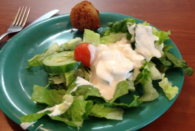 Golden Corral Salad with Blue Cheese and a Hushpuppy