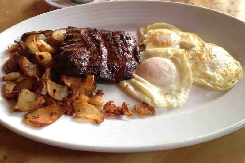 Brimstone Woodfire Grill Steak and Eggs