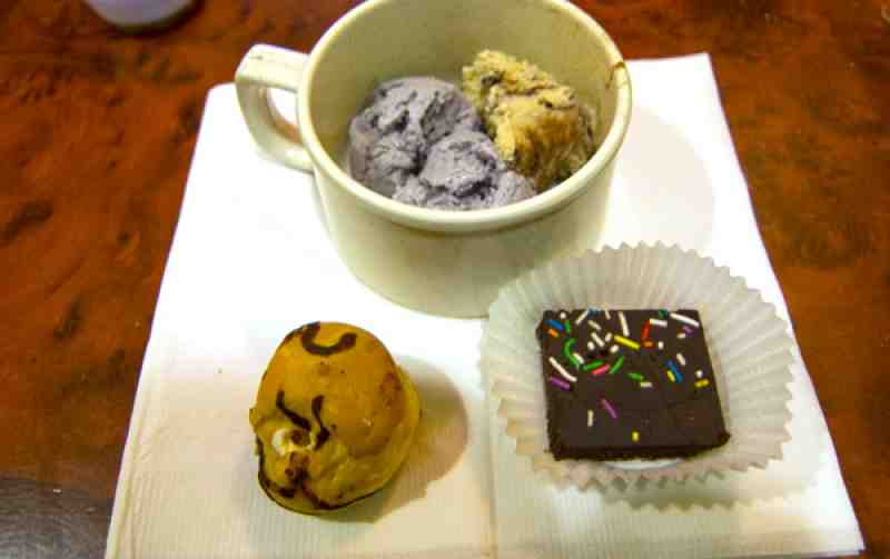 Dragon Buffet Red Bean Ice Cream, Cream Puff and Chocolate Square.