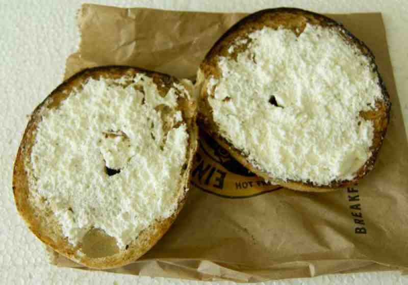 Einstein Bagels Plain with garlic cream cheese