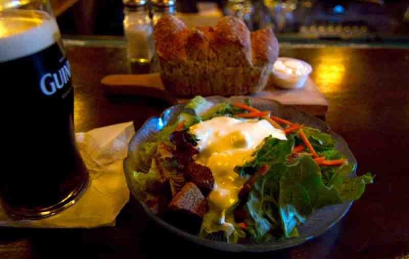 The Field Irish Pub Salad and Bread