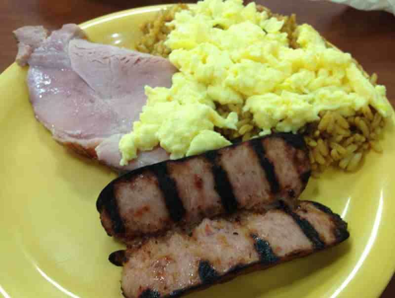 Golden Corral ham, smoked sausage and scrambled eggs