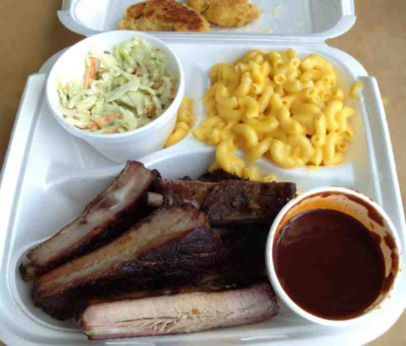 Hickory Sticks Spare Ribs, Spicy Slaw and Mac and Cheese
