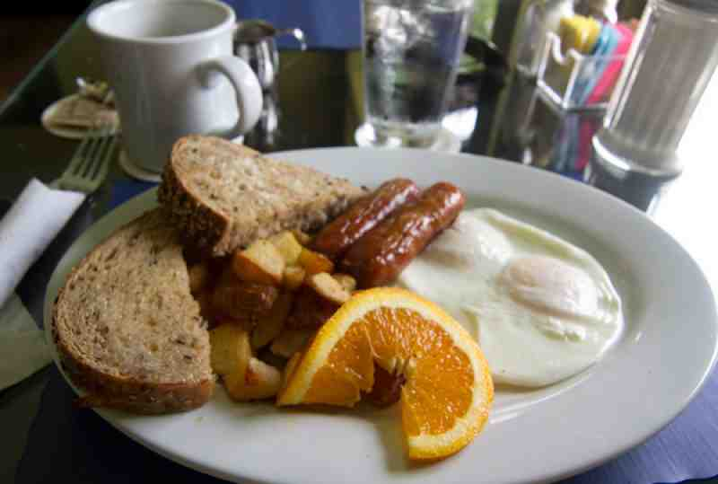 O-B House Breakfast with Sausage, Yukon Golds and Multigrain Bread