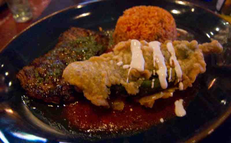Roccos Tacos Chile Relleno and Skirt Steak