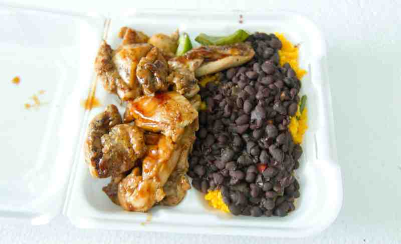 Teriyaki Chicken with yellow rice and black beans